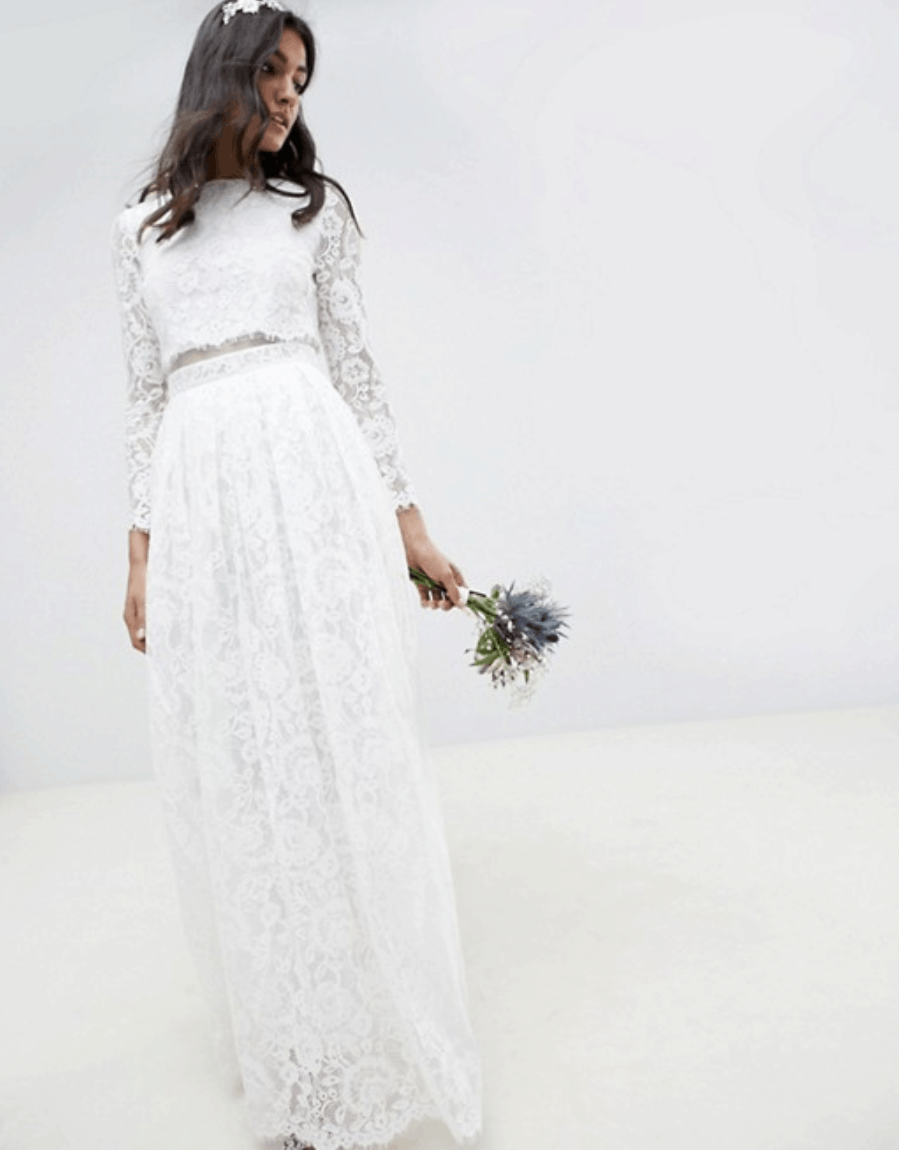 0cb90fa2ac80 Cheap Affordable Bridal Gowns and Wedding Dress ASOS Edition Lace Long  Sleeve Crop Top Maxi Wedding