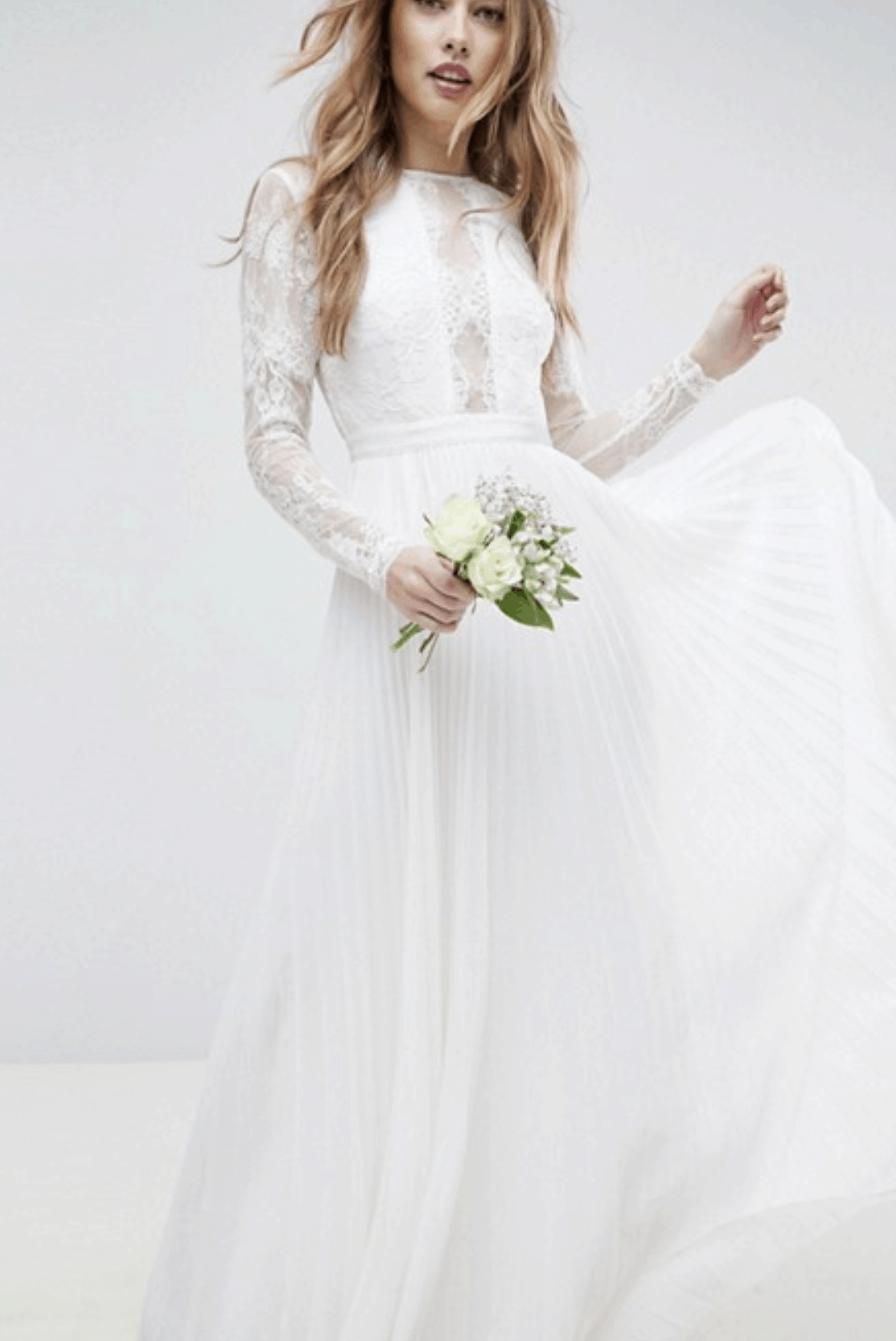 Cheap Affordable Bridal Gowns and Wedding Dress ASOS Edition Long Sleeve Lace Bodice Maxi Wedding Dress with Pleated Skirt