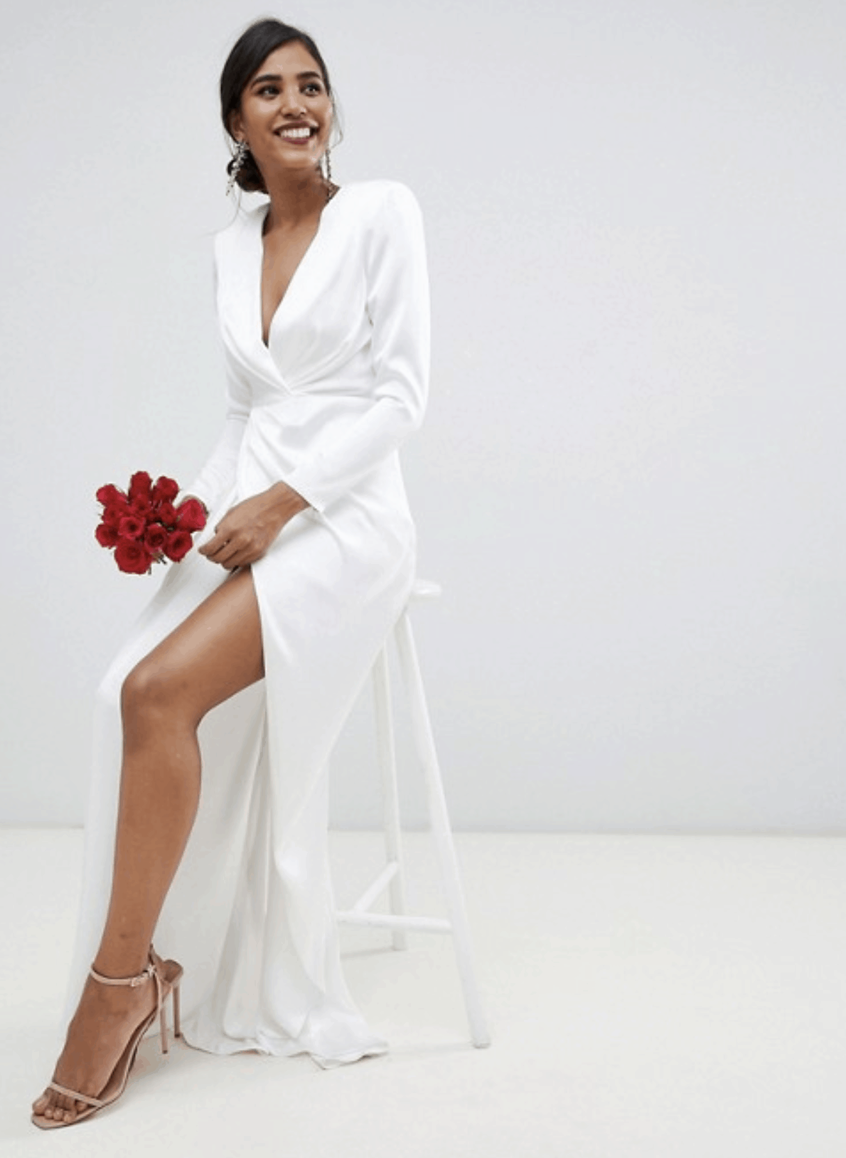 Cheap Affordable Bridal Gowns and Wedding Dress ASOS Edition Pleated Plunge Wrap Wedding Dresses in Satin