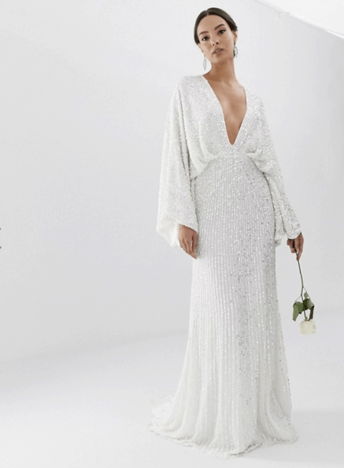 Cheap Affordable Bridal Gowns and Wedding Dress ASOS Edition Sequin Kimono Sleeve Wedding Dresses