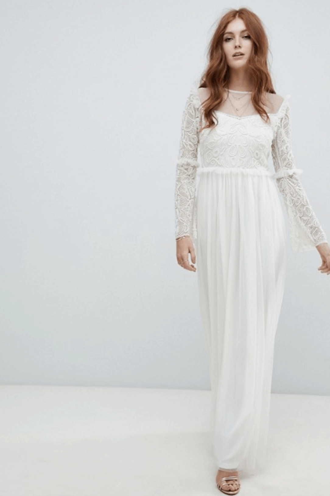 b752f8829a29 Cheap Affordable Bridal Gowns and Wedding Dress Amelia Rose Embellished  Long Sleeve Dress Ivory