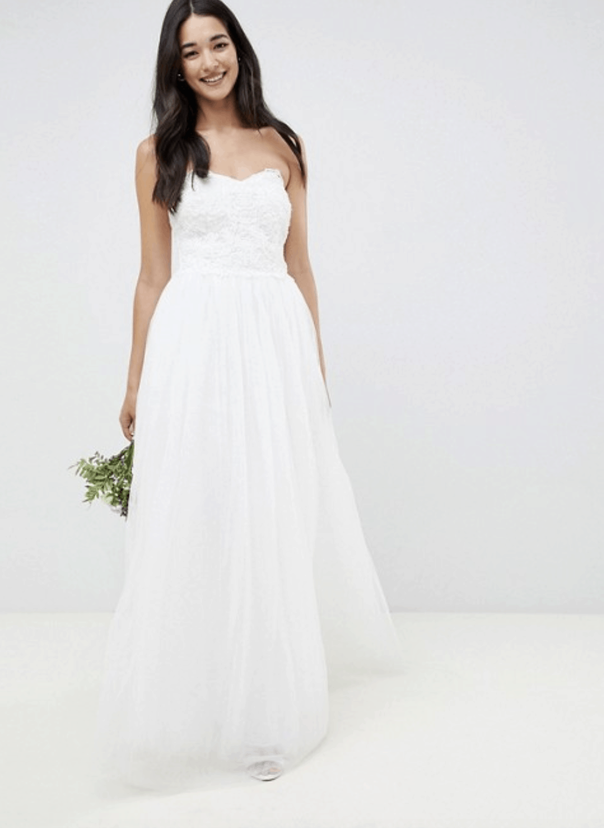 Cheap Affordable Bridal Gowns and Wedding Dress Little Mistress Bandeau Princess Wedding Dress with Embellished Detail