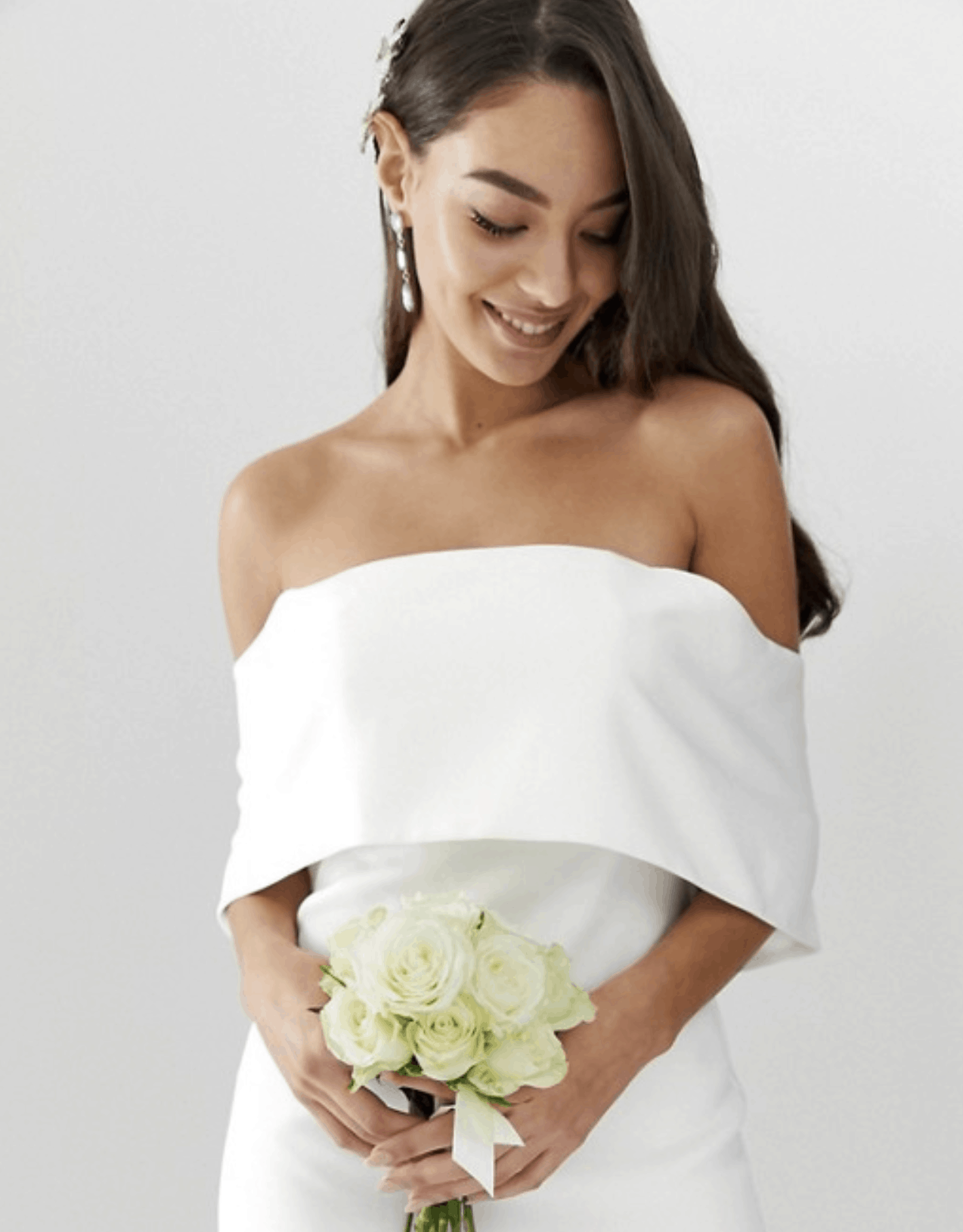 Cheap Affordable Bridal Gowns and Wedding Dresses ASOS Edition Crepe Off Shoulder Wedding Column Dress