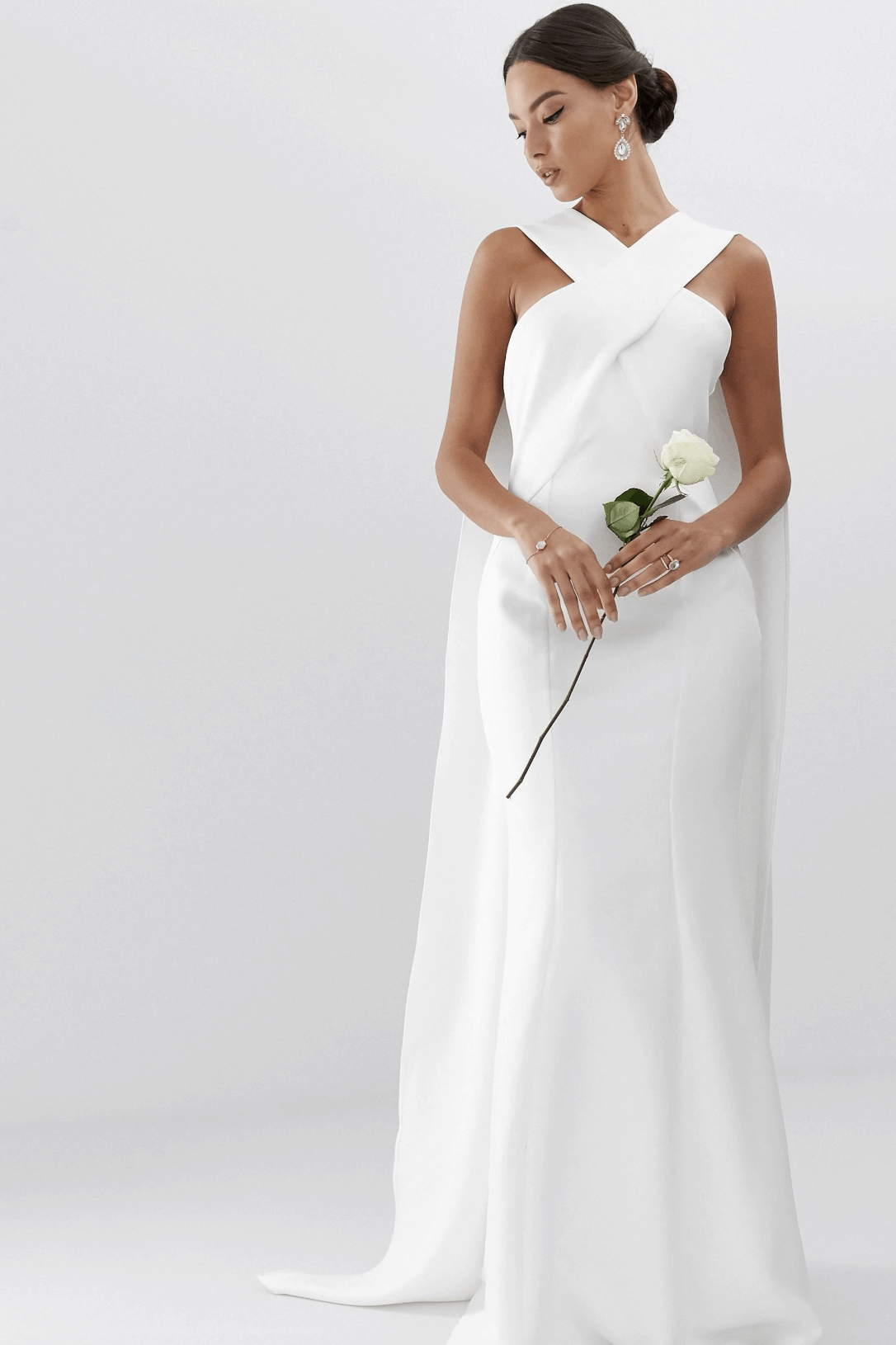 Cheap Affordable Bridal Gowns and Wedding Dresses ASOS Edition Cross Front Cape Wedding Dress
