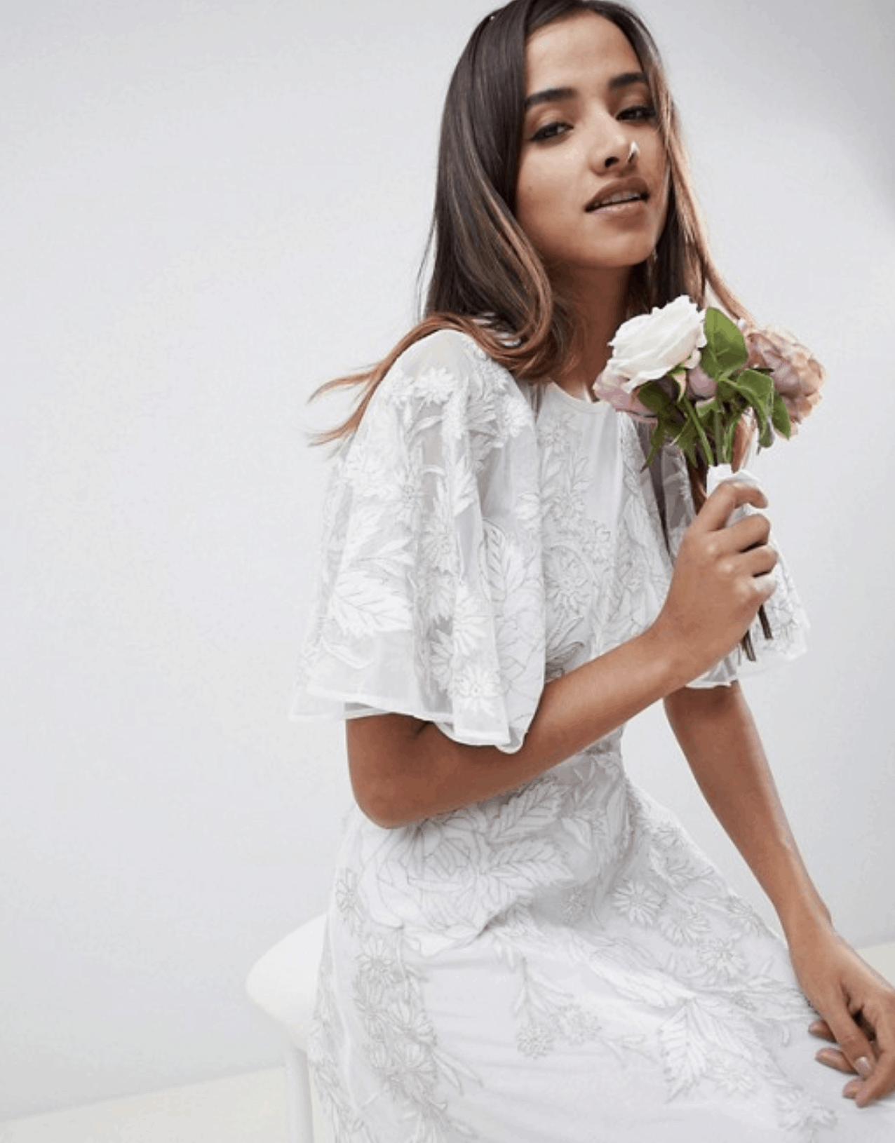 Cheap Affordable Bridal Gowns and Wedding Dresses ASOS Edition Floral Applique Wedding Dress