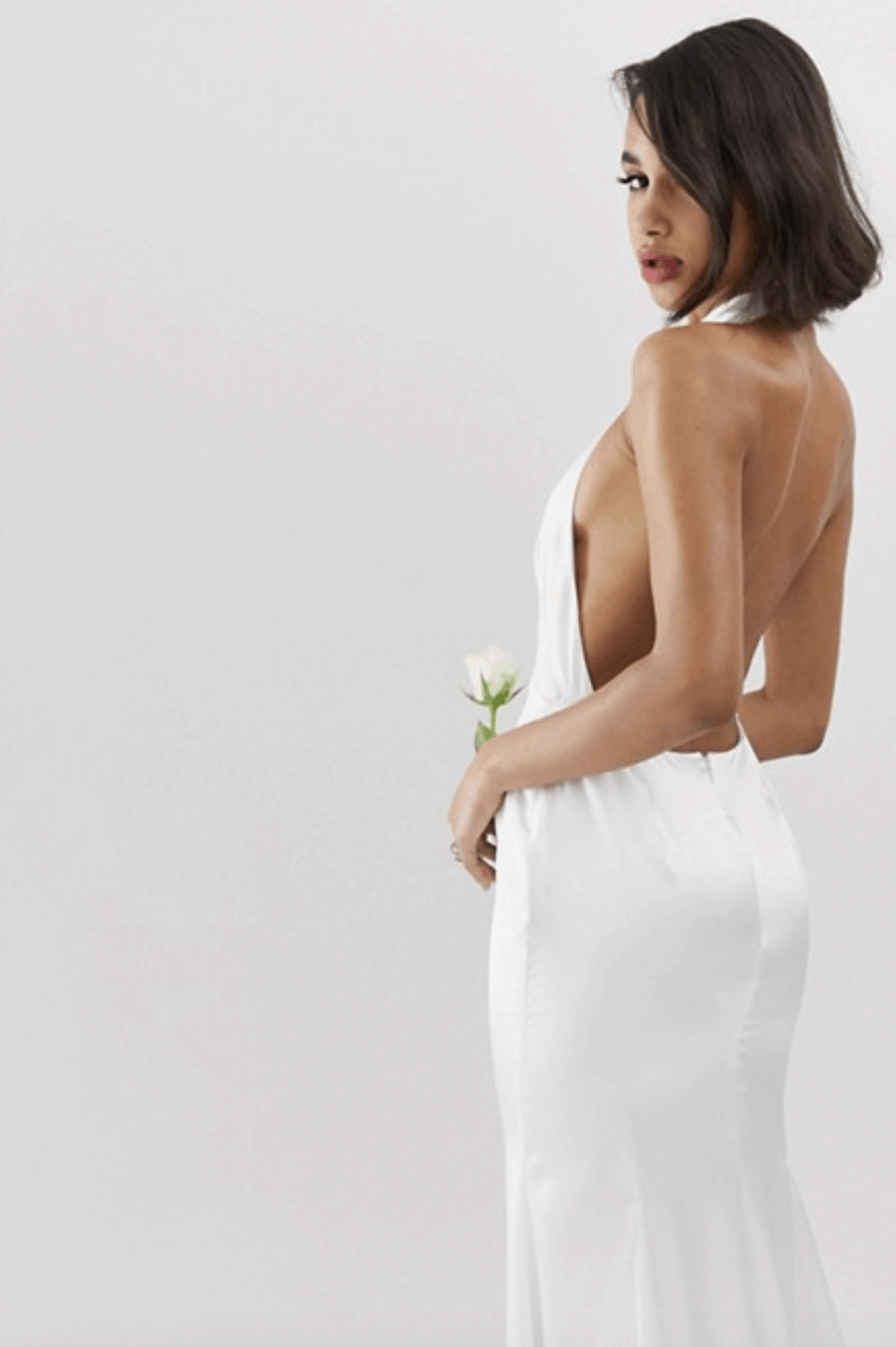 Cheap Affordable Bridal Gowns and Wedding Dresses ASOS Edition Halter Backless Maxi Wedding Dress