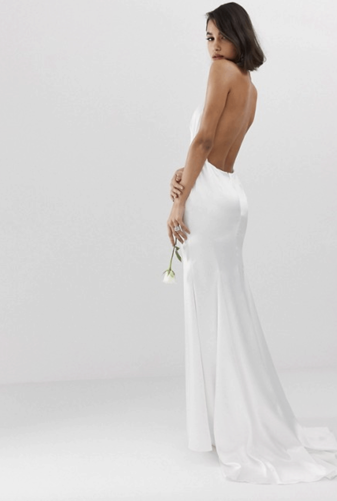 Cheap Affordable Bridal Gowns and Wedding Dresses ASOS Edition Halter Backless Maxi Wedding Dresses