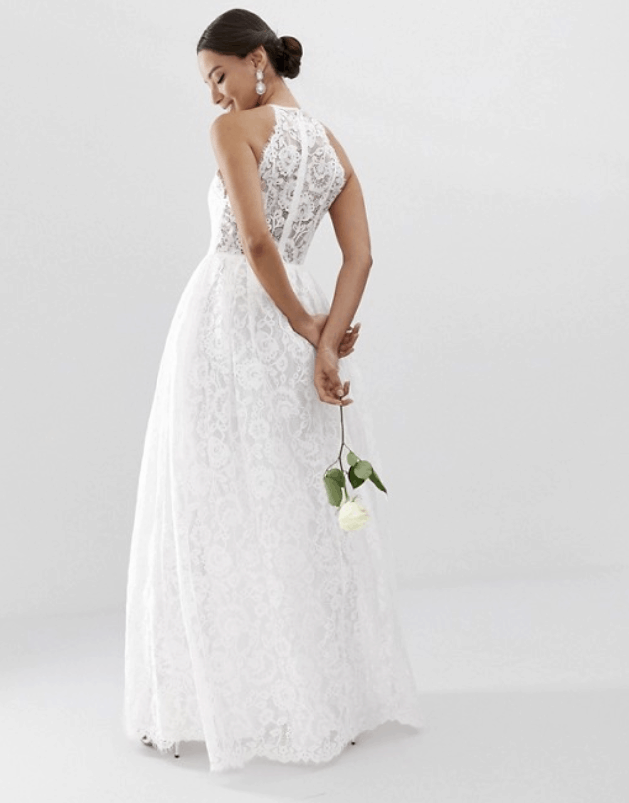 Cheap Affordable Bridal Gowns and Wedding Dresses ASOS Edition Lace Halter Neck Maxi Wedding Dresses