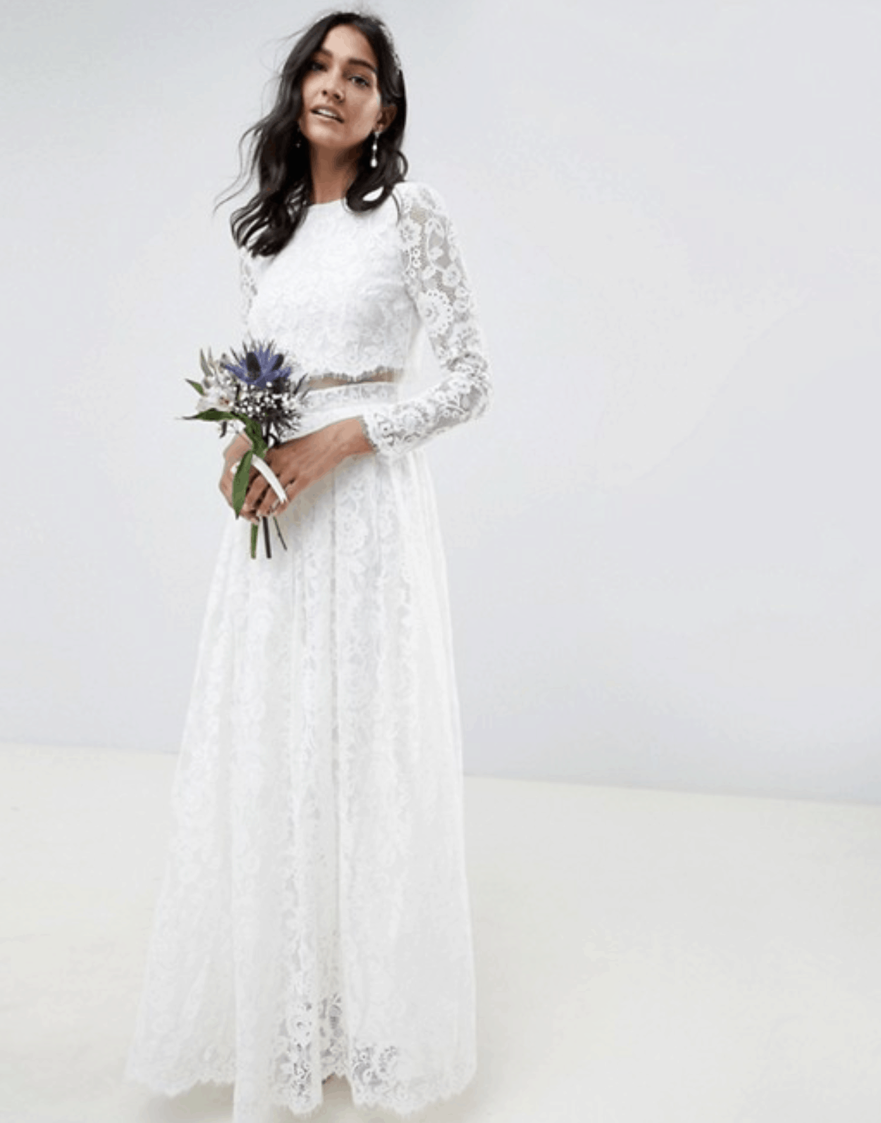 Cheap Affordable Bridal Gowns and Wedding Dresses ASOS Edition Lace Long Sleeve Crop Top Maxi Wedding Dress