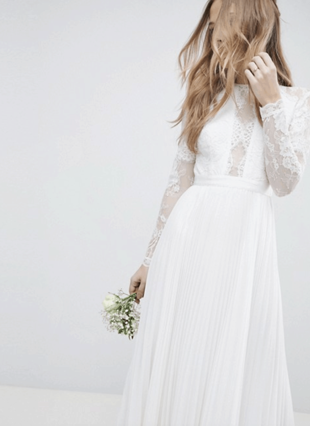 Cheap Affordable Bridal Gowns and Wedding Dresses ASOS Edition Long Sleeve Lace Bodice Maxi Wedding Dress with Pleated Skirt