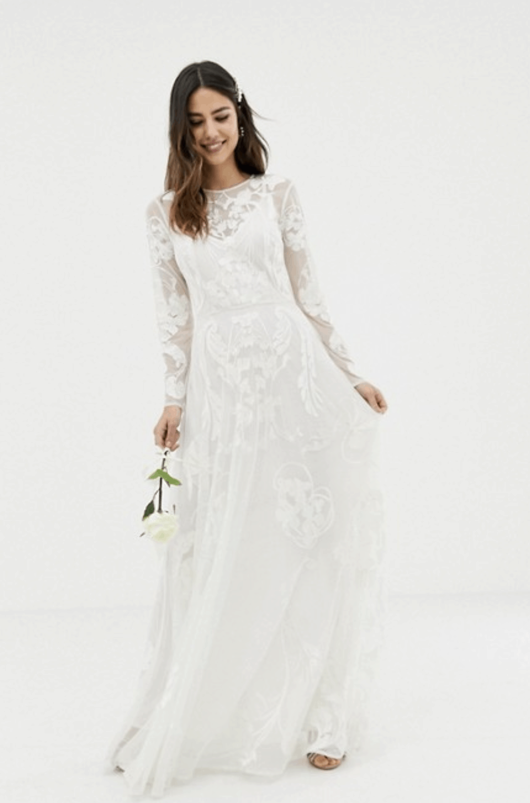 Cheap Affordable Bridal Gowns and Wedding Dresses ASOS Edition Nouveau Embroidered Wedding Dress
