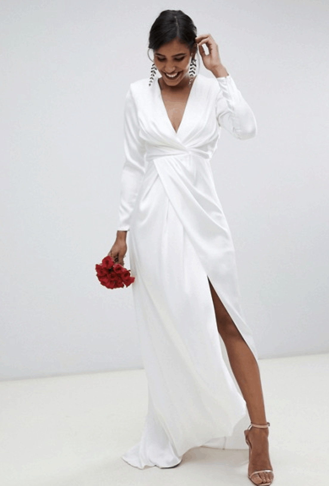 Cheap Affordable Bridal Gowns and Wedding Dresses ASOS Edition Pleated Plunge Wrap Wedding Dress in Satin