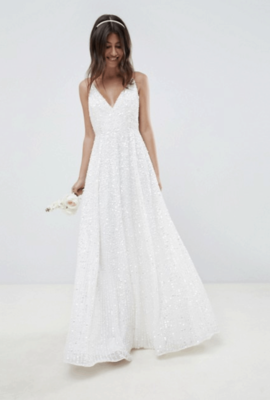 Cheap Affordable Bridal Gowns and Wedding Dresses ASOS Edition Sequin Cami Wedding Dresses