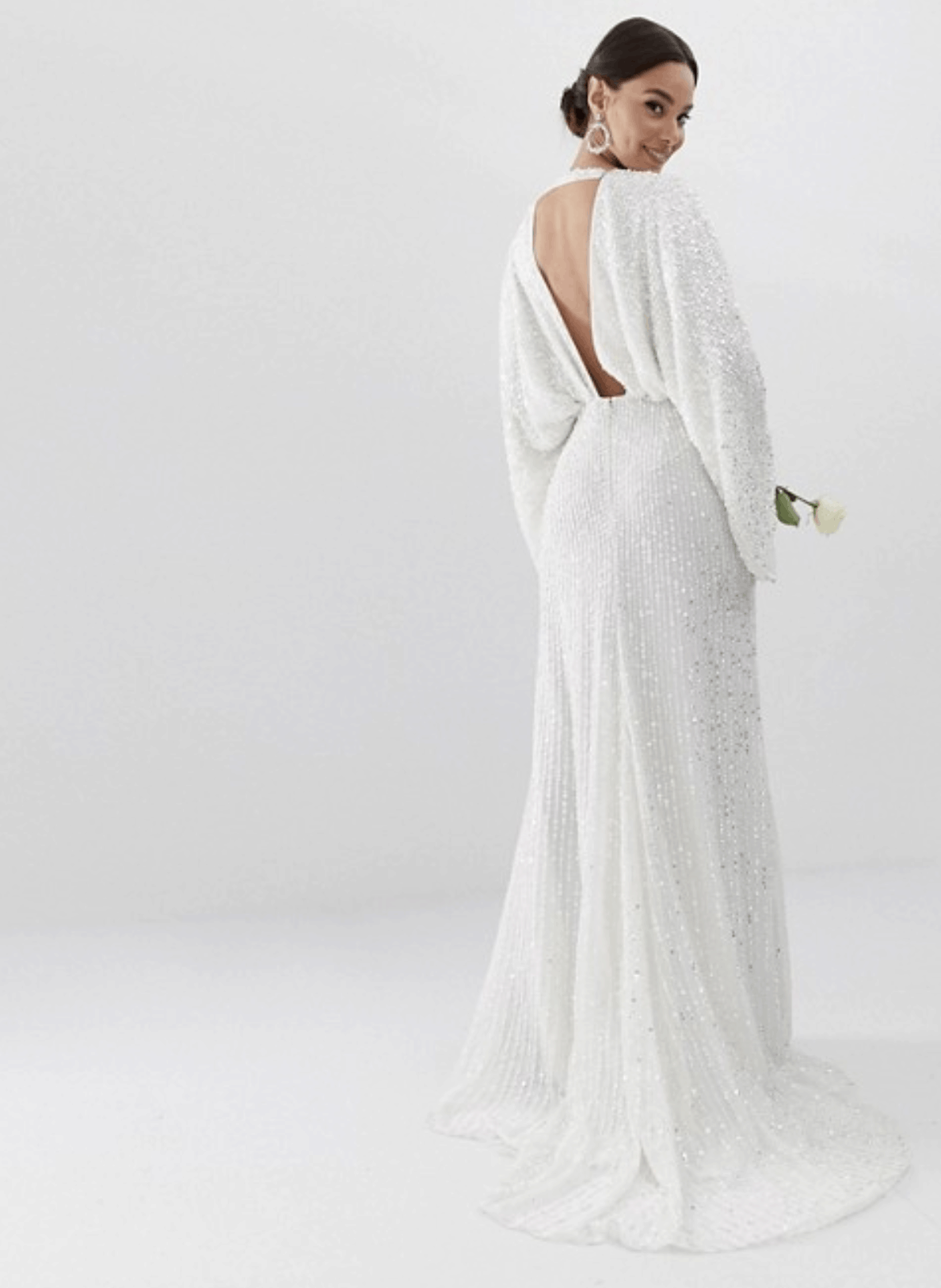 Cheap Affordable Bridal Gowns and Wedding Dresses ASOS Edition Sequin Kimono Sleeve Wedding Dress