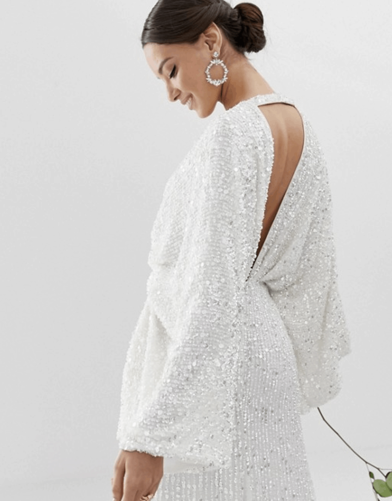 Cheap Affordable Bridal Gowns and Wedding Dresses ASOS Edition Sequin Kimono Sleeve Wedding Dresses