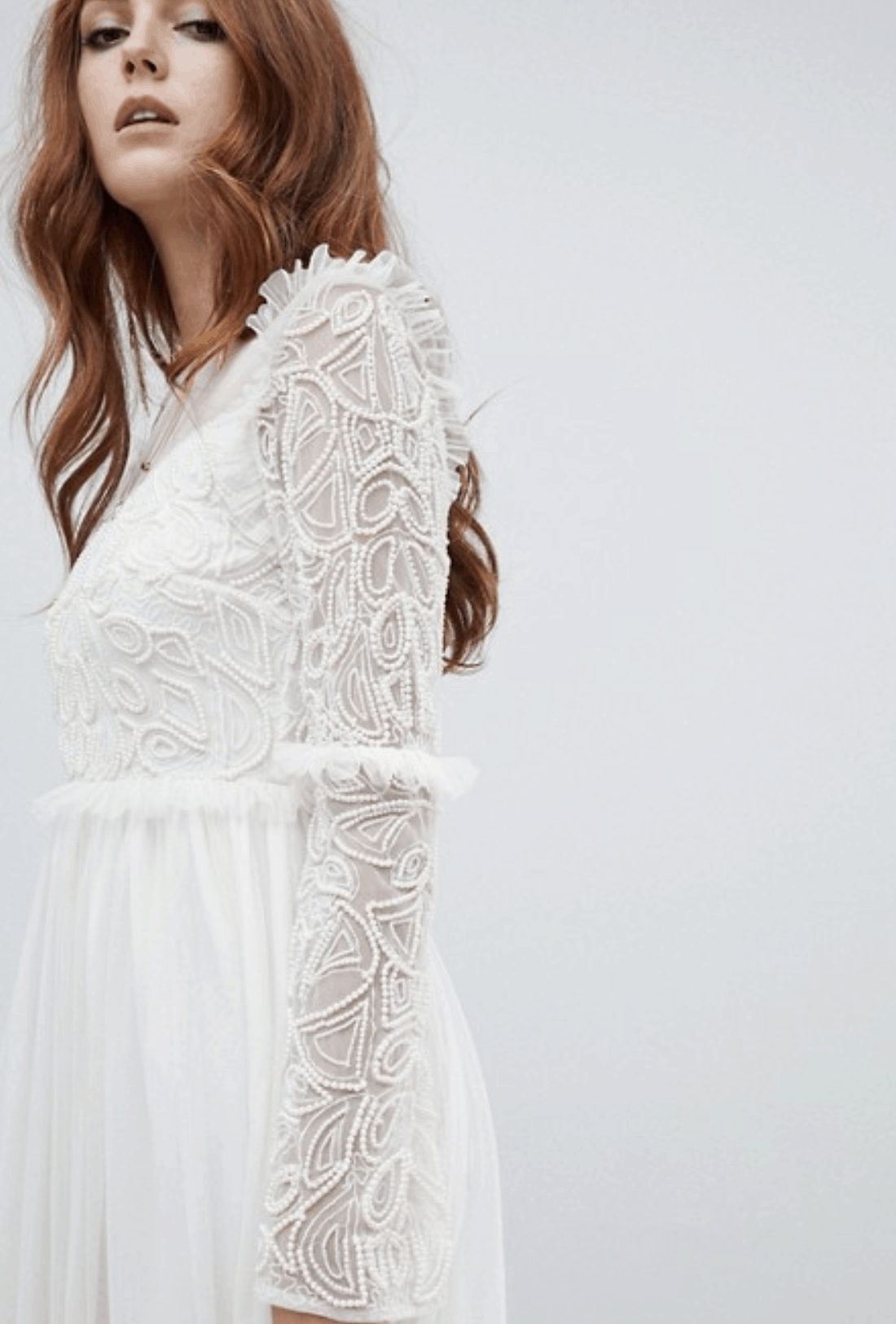 97b6ecc35b4a Cheap Affordable Bridal Gowns and Wedding Dresses Amelia Rose Embellished  Long Sleeve Dress Ivory