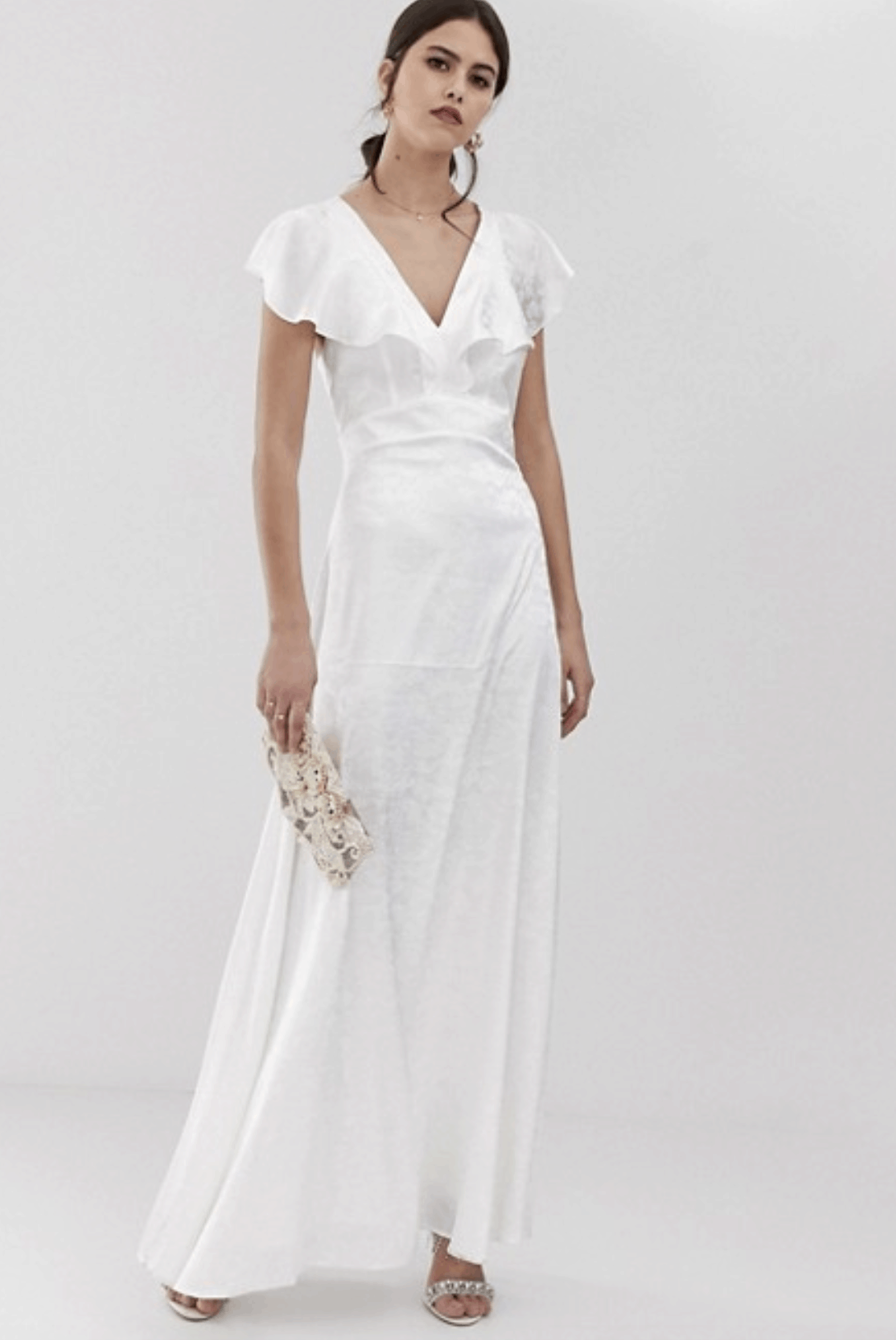 Cheap Affordable Bridal Gowns and Wedding Dresses Y.A.S Ruffle Sleeve Jacquard Maxi Dress