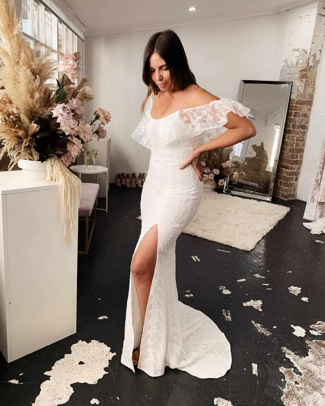 Cheap Affordable Wedding Dresses Fishtail Silhouette Showpo Bridal Lace Gown Brides Tight Wedding Budget 4