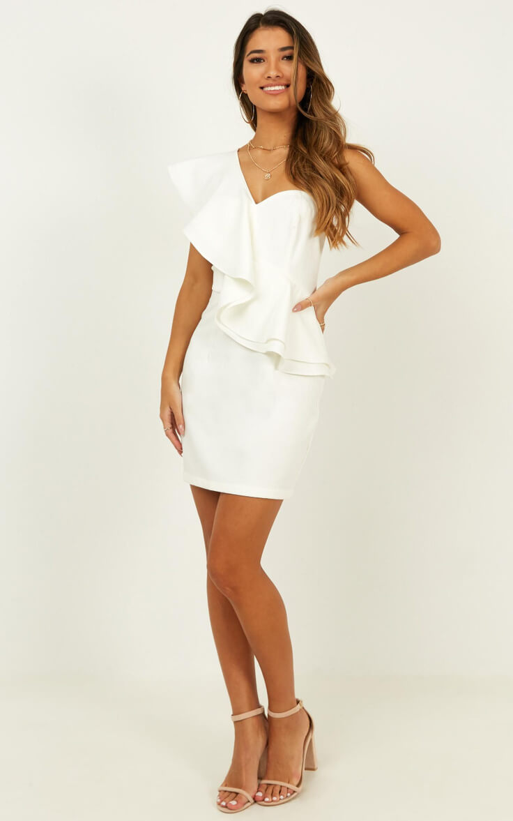 Courthouse Wedding Dress Off Shoulder City Hall Outfit White Model on Holiday Dress Showpo