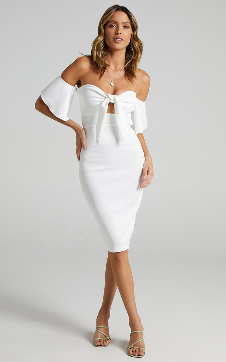 Courthouse Wedding Dress Off Shoulder City Hall Outfits White Edit Dress Showpo