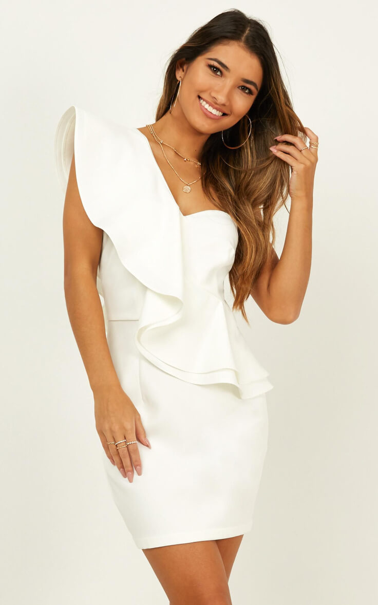 Courthouse Wedding Dress Off Shoulder City Hall Outfits White Model on Holiday Dress Showpo
