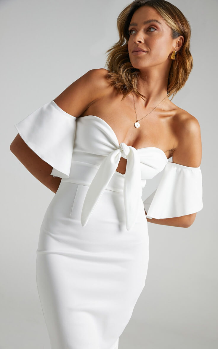 Courthouse Wedding Dresses Off Shoulder City Hall Outfit White Edit Dress Showpo
