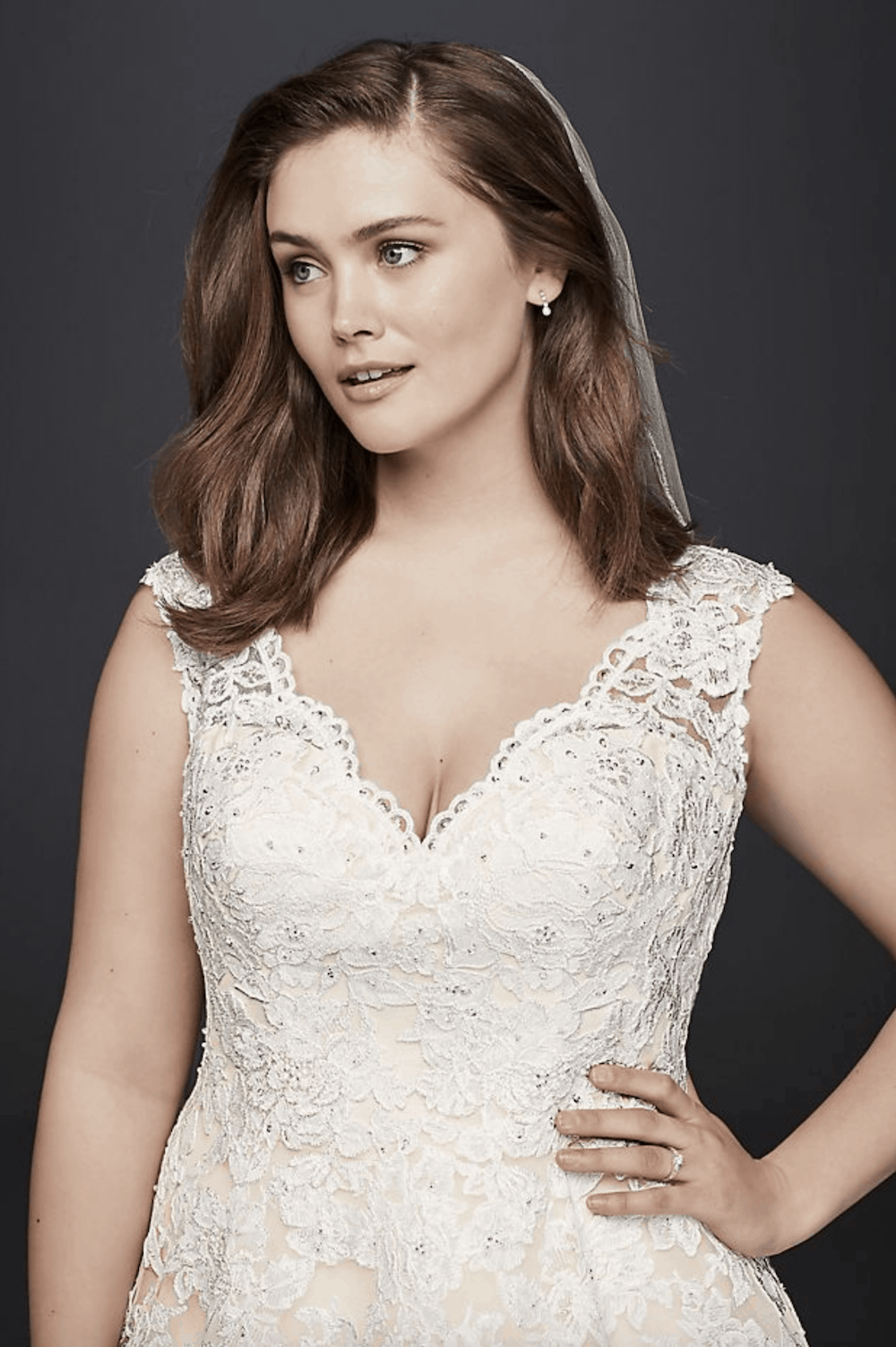 Davids Bridal Gowns with Sleeves Plus Size Wedding Dresses Simple Bohemian Lace