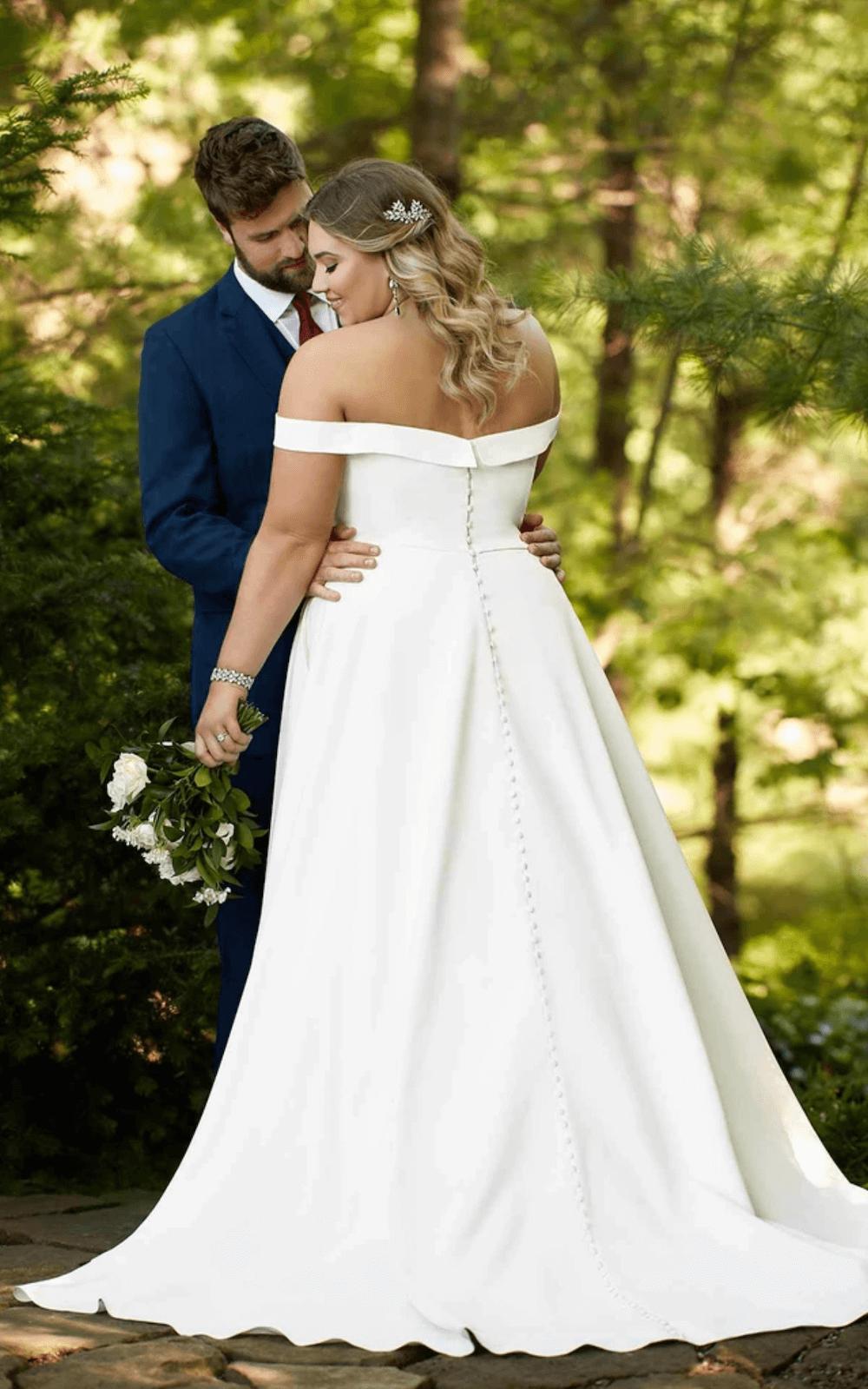 Designer Wedding Dresses Off the Shoulder Essense of Australia D2761 Bridal Gown 2