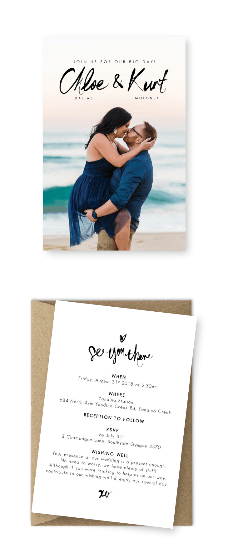 Destination Beach Wedding Invitations with Photos For the Love of Stationery
