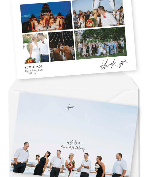 Destination Wedding Thank You Card with Photos For the Love of Stationery Kleio Photography Bali Weddings