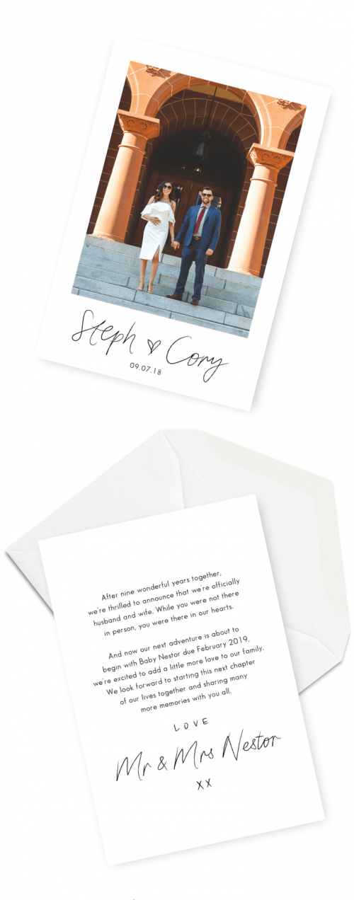 Elopement Announcement Baby Announcement For the Love of Stationery Brianna Lee Photography