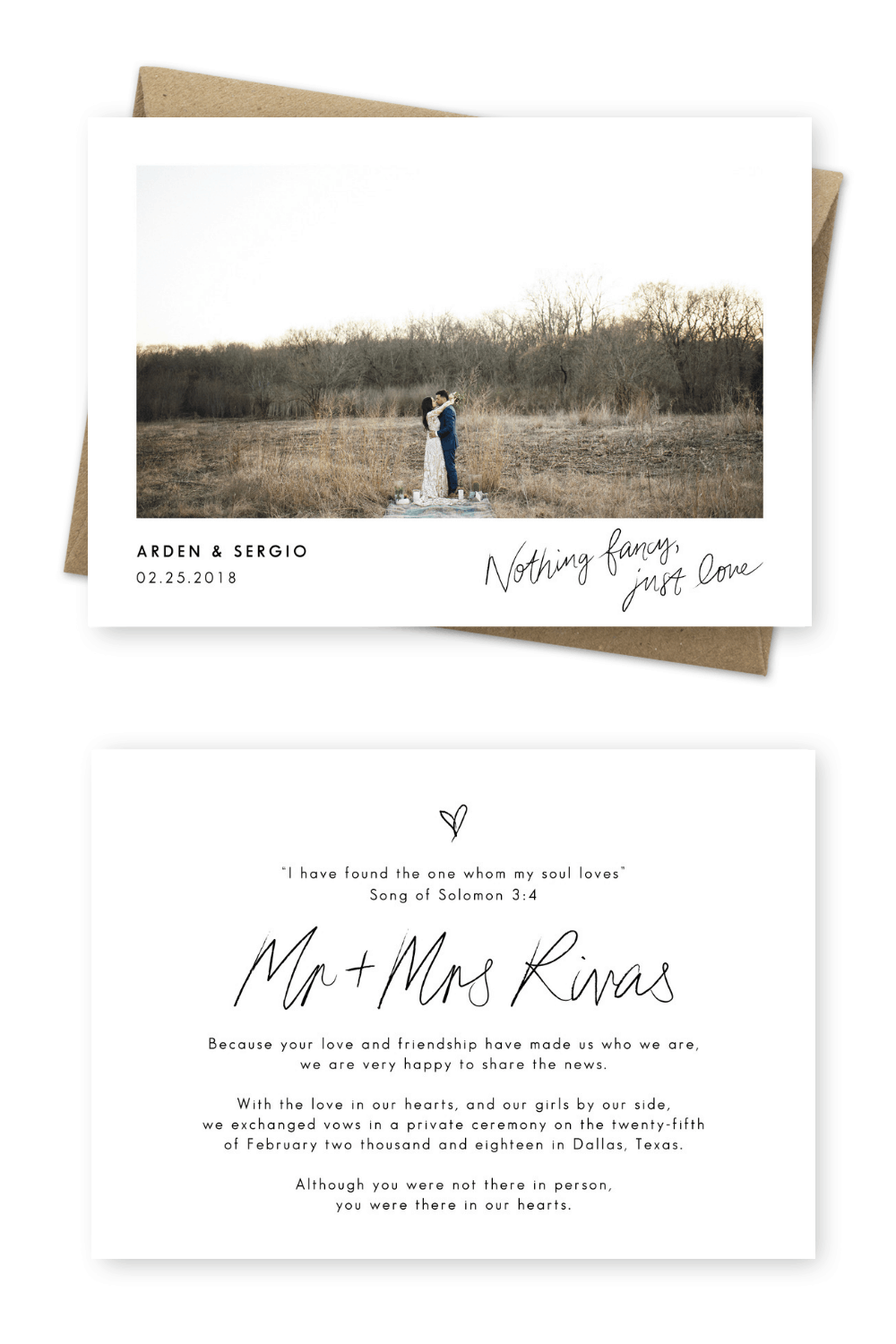 Elopement Announcement Cards and Wedding Invitation Ideas We Eloped Nothing Fancy Just Love