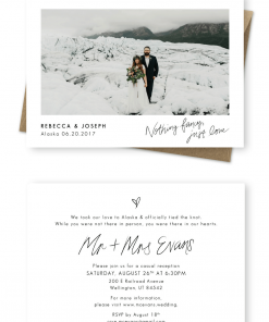 Elopement Announcement Destination Wedding Invitation For the Love of Stationery