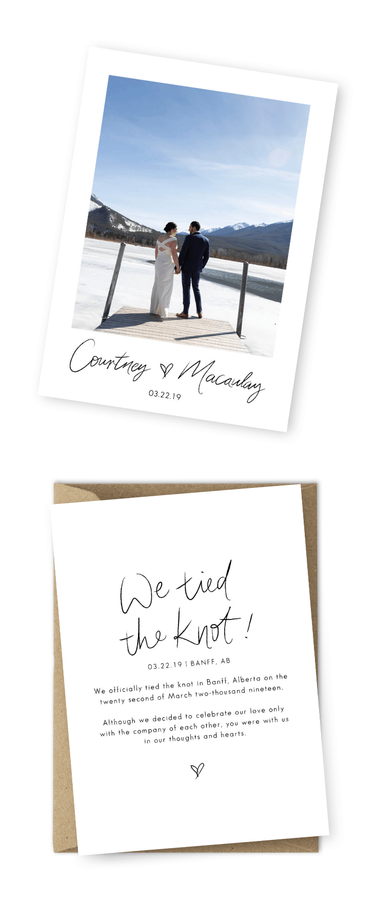Elopement Announcement Examples Elopement Cards Wedding Announcements Photo Flow Photography For the Love of Stationery