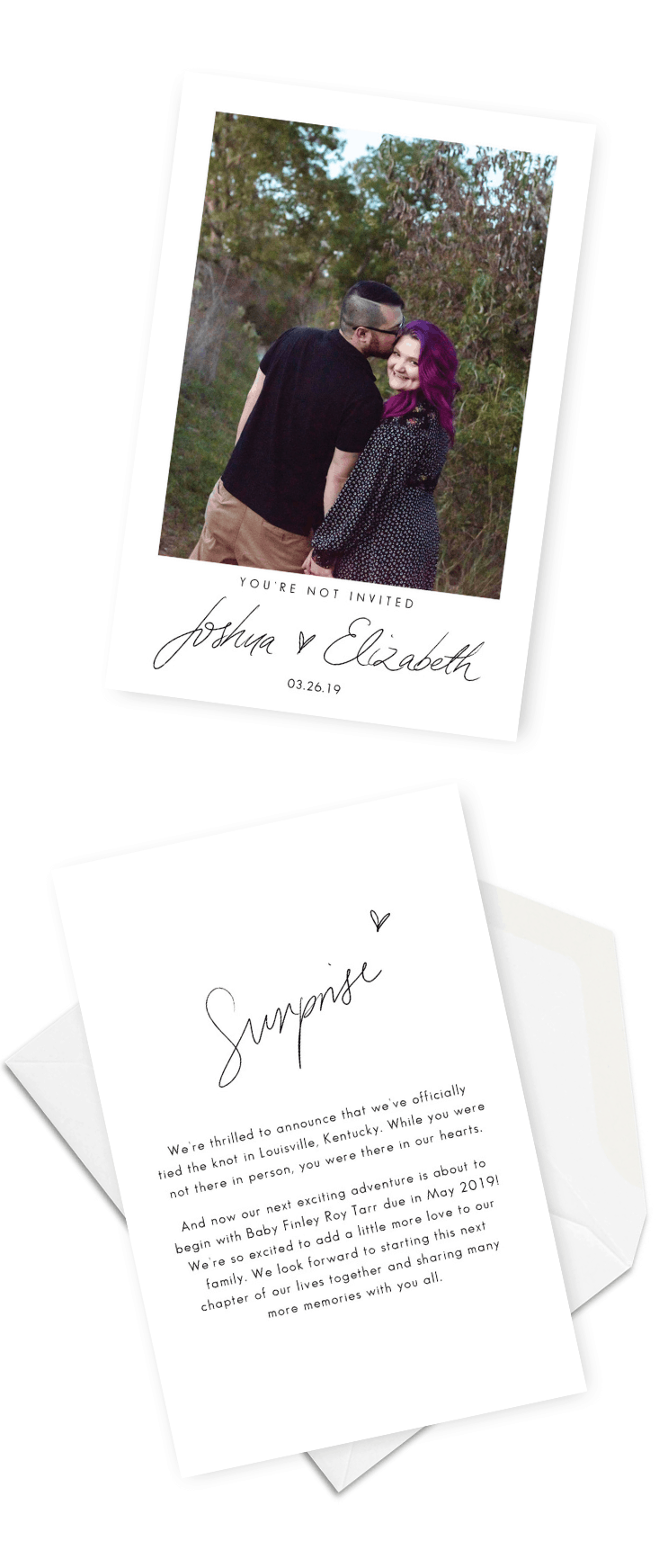 Elopement Announcement Funny Cute Ideas You Are Not Invited For the Love of Stationery Ethereal Imagery