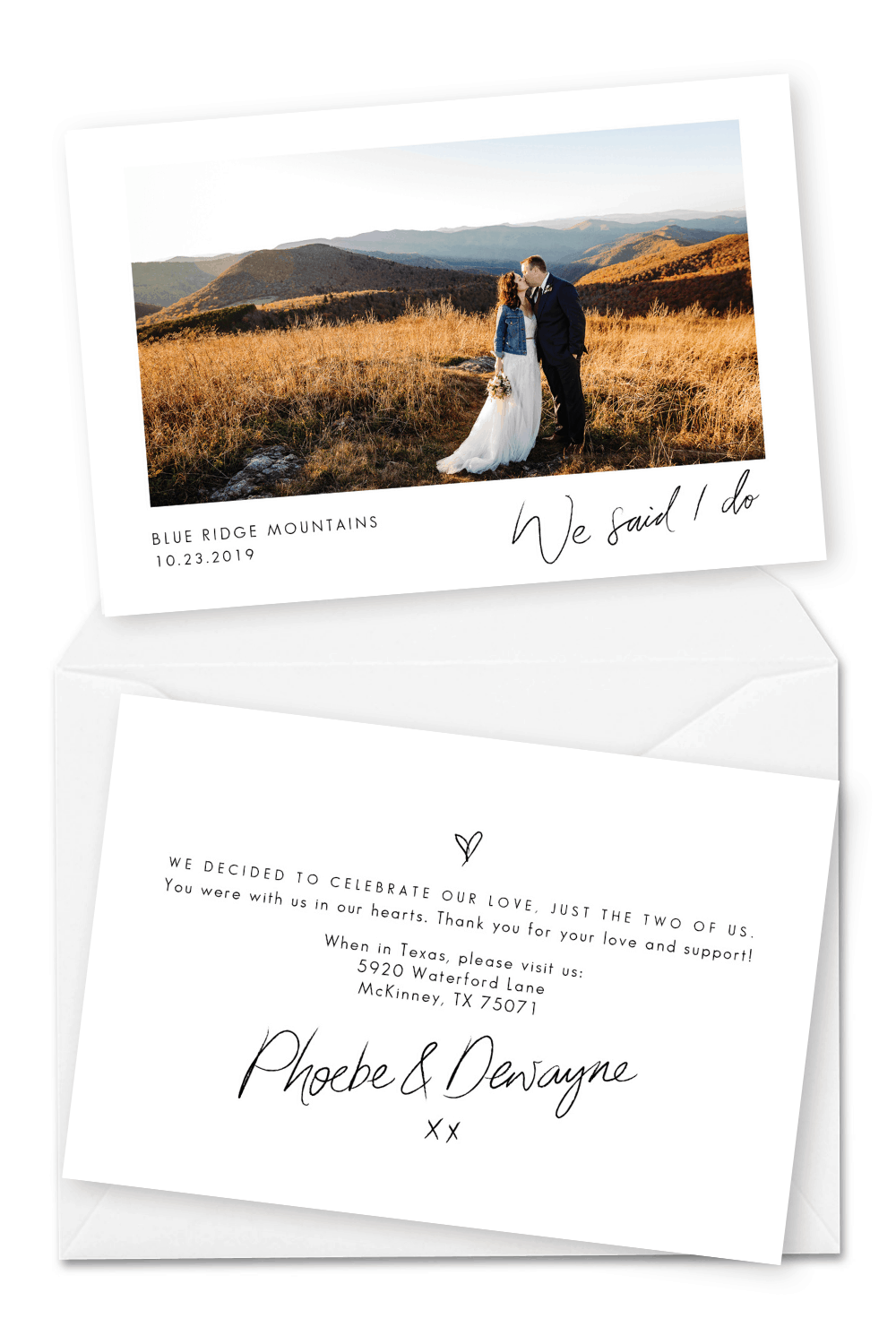 Elopement Announcement Ideas Wedding Photo Cards Meghan Rolfe Photography For the Love of Stationery