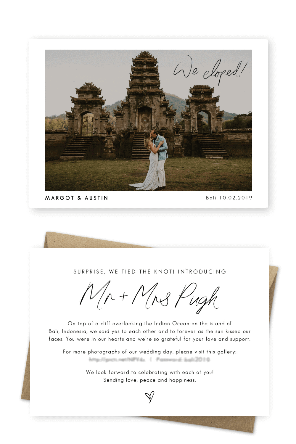 Elopement Announcement We Eloped Bali Photo Elopement Cards Anni Graham Photography For the Love of Stationery