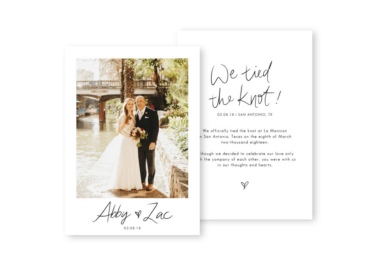 Elopement Announcement We Eloped Destination Wedding Invitation Intimate Wedding Inspiration Two Pair Photography For the Love of Stationery