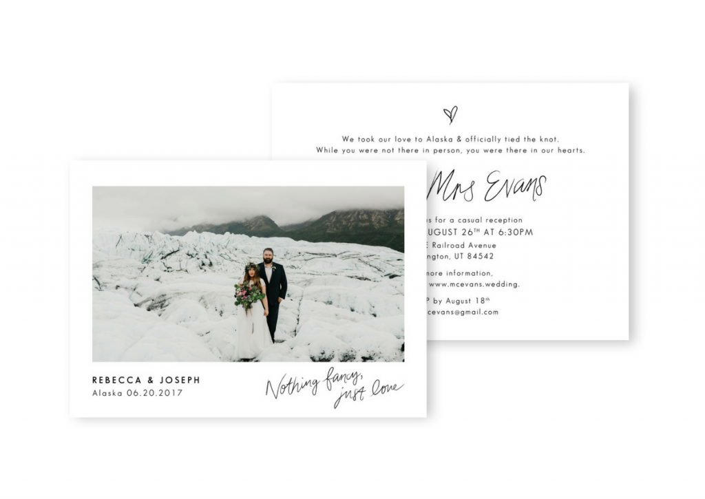 Elopement Announcement Wedding Elopement Invitation