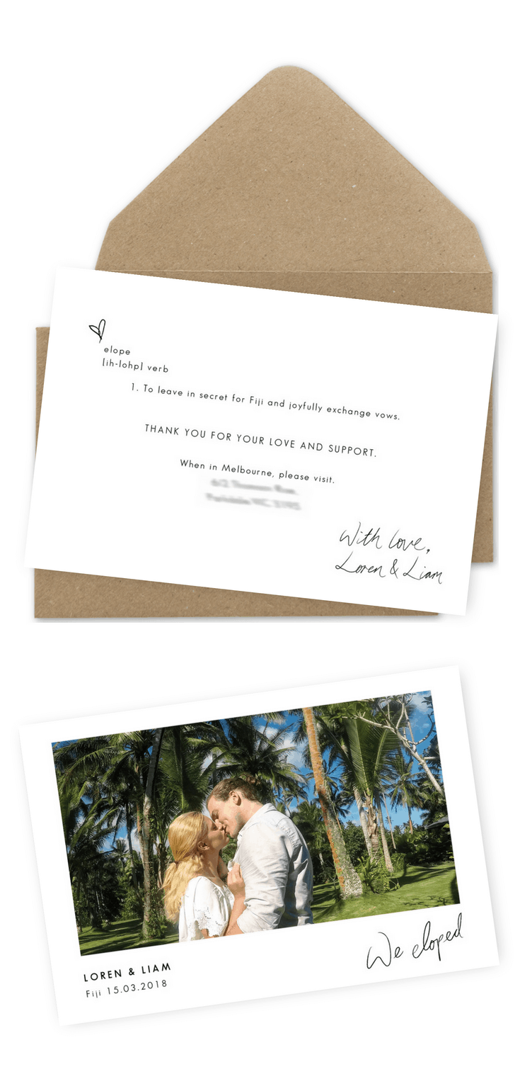 Elopement Announcement Wedding Invitations We Eloped Destination Wedding Ideas