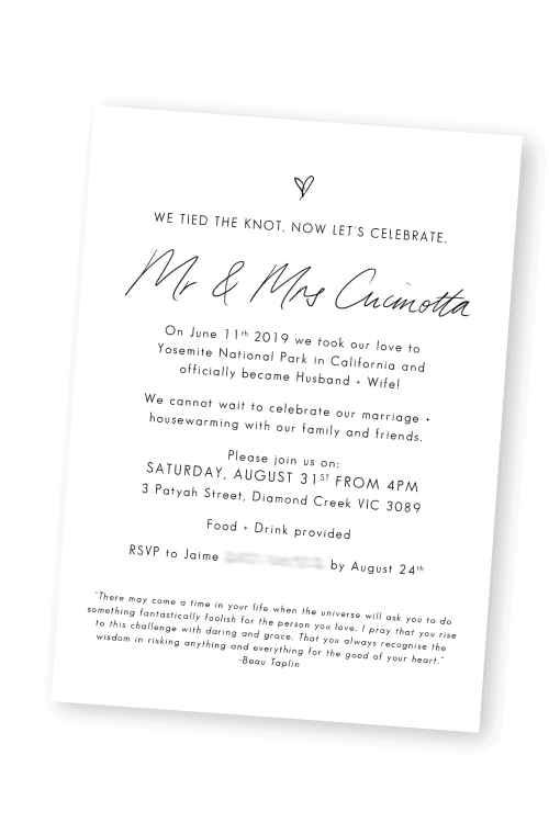 Elopement Announcement Wedding We Eloped Elopement Cards For the Love of Stationery