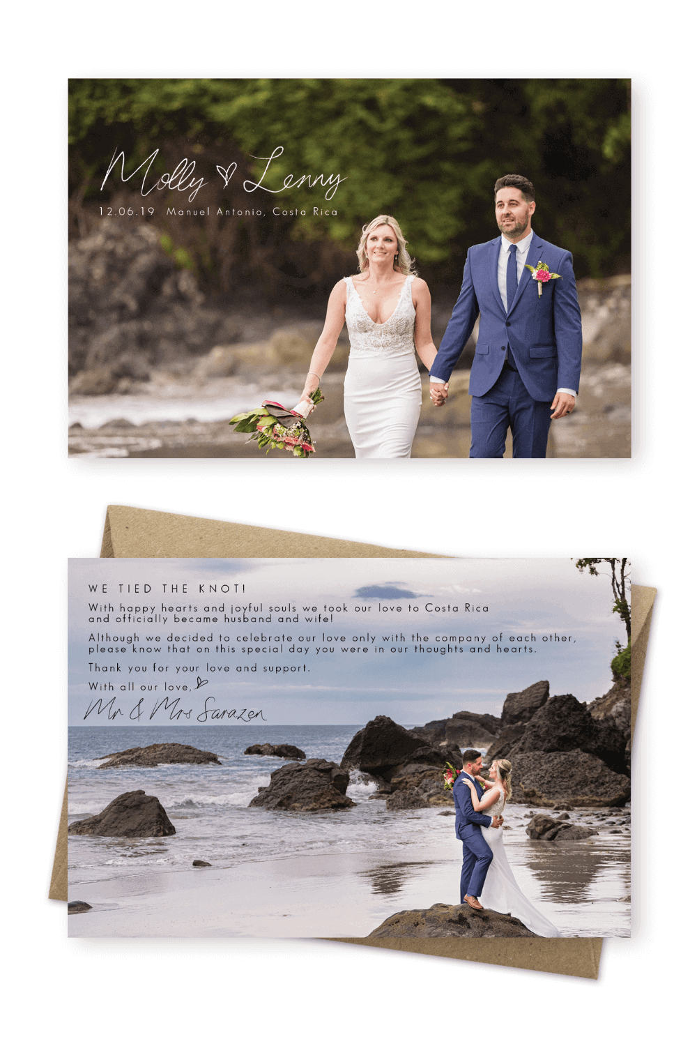 Elopement Announcement Wording Card Ideas Arenas Foto Costa Rica For the Love of Stationery