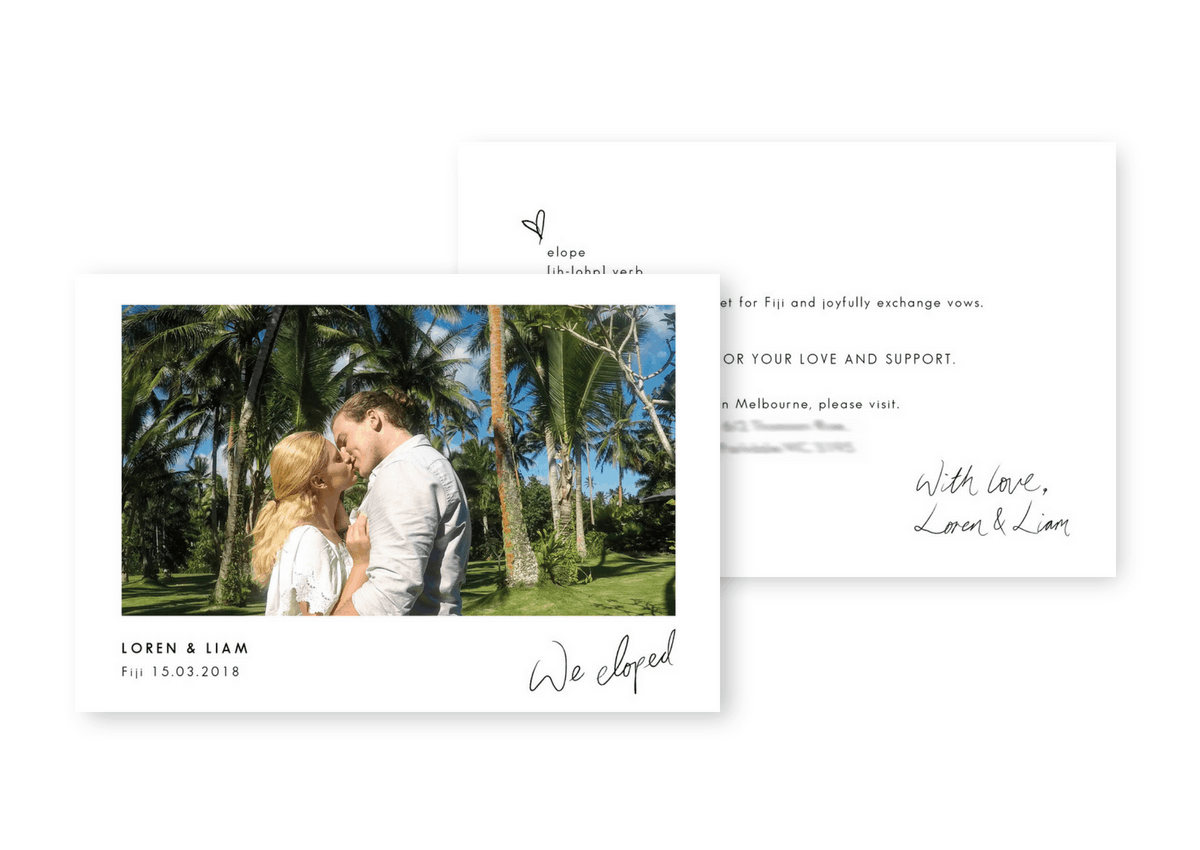 Elopement Announcements Intimate Wedding Invitations Destination Weddings For the Love of Stationery