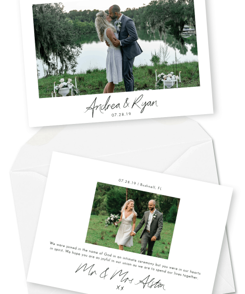 Elopement Announcements Photo Wedding Invitations For the Love of Stationery Moonman Productions