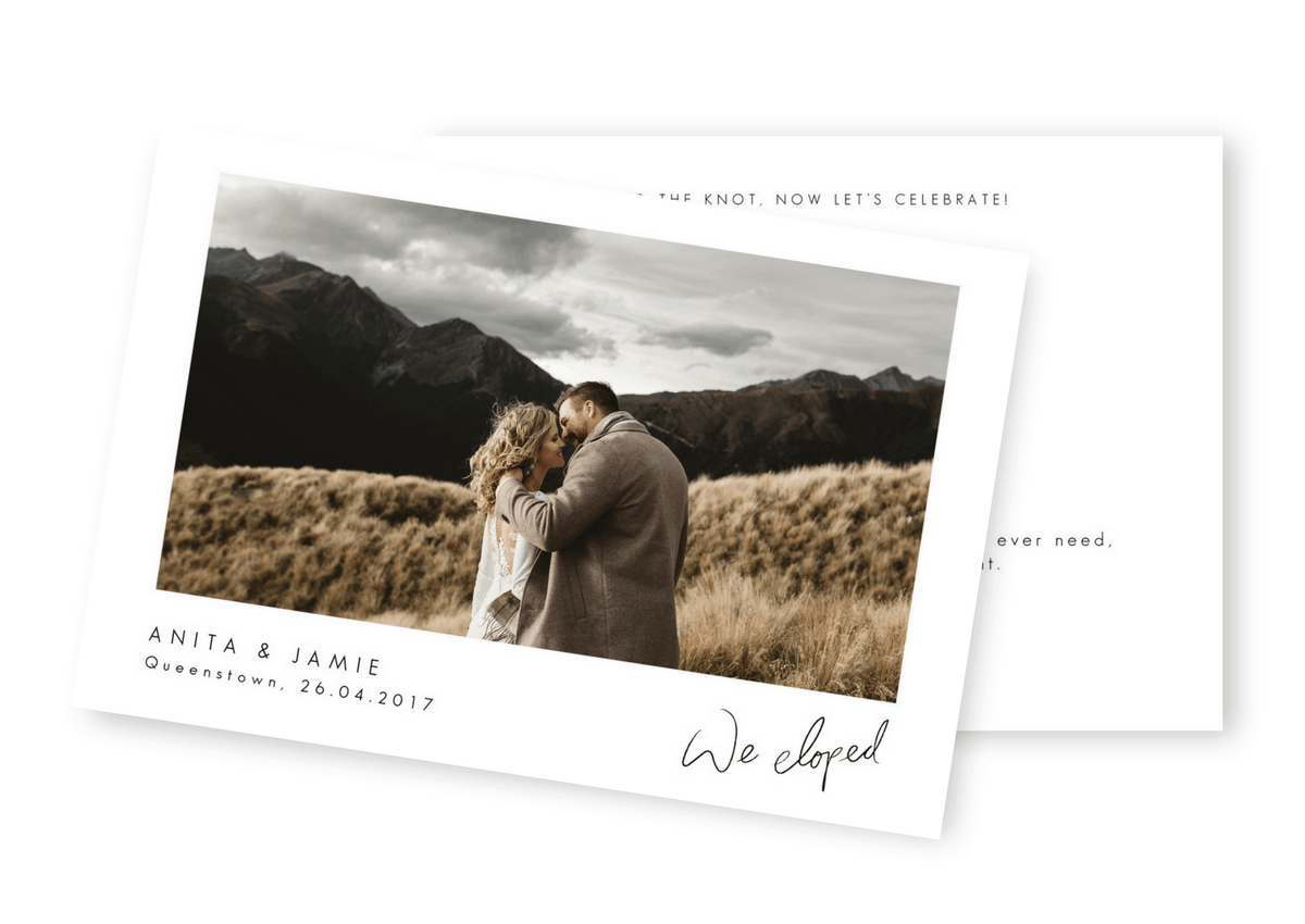 Elopement Announcements Rustic Wedding Invitations