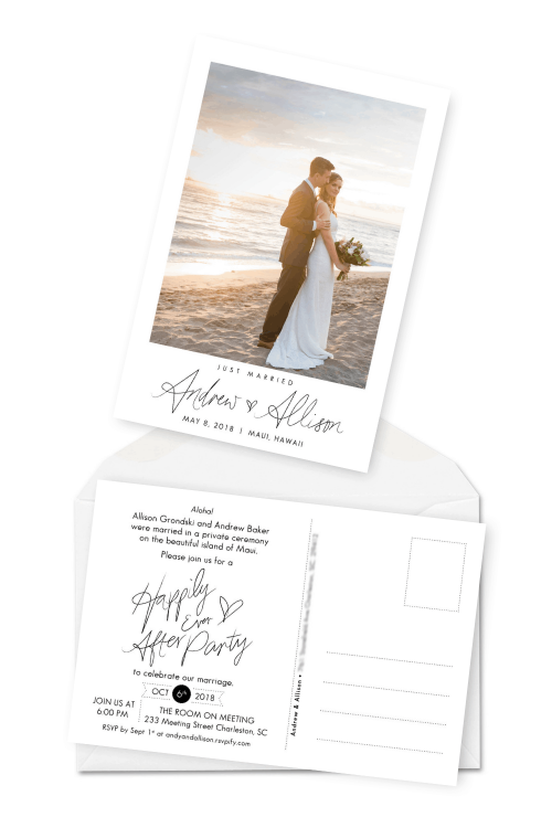 Elopement Packages Elopement Announcements Wedding Party Reception Invitations For the Love of Stationery