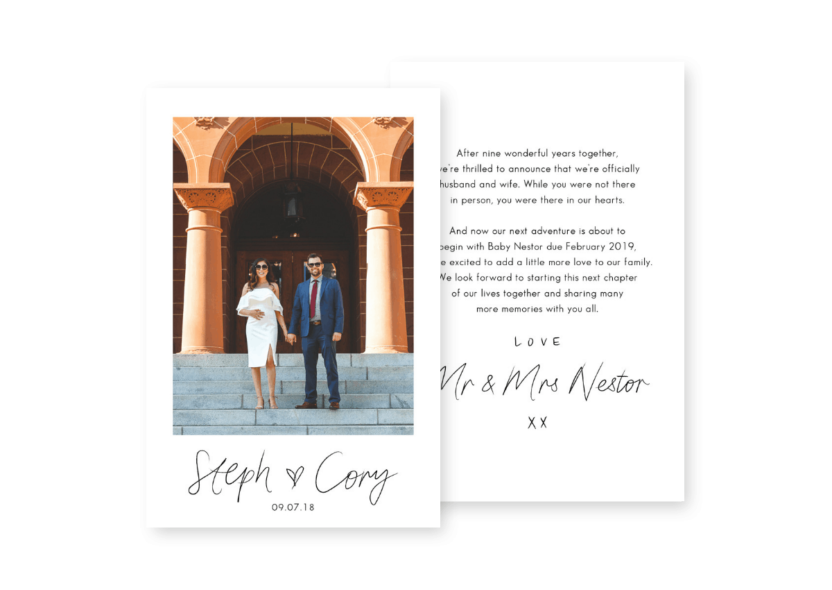 Elopement Packages Wedding and Baby Announcement For the Love of Stationery Brianna Lee Photography