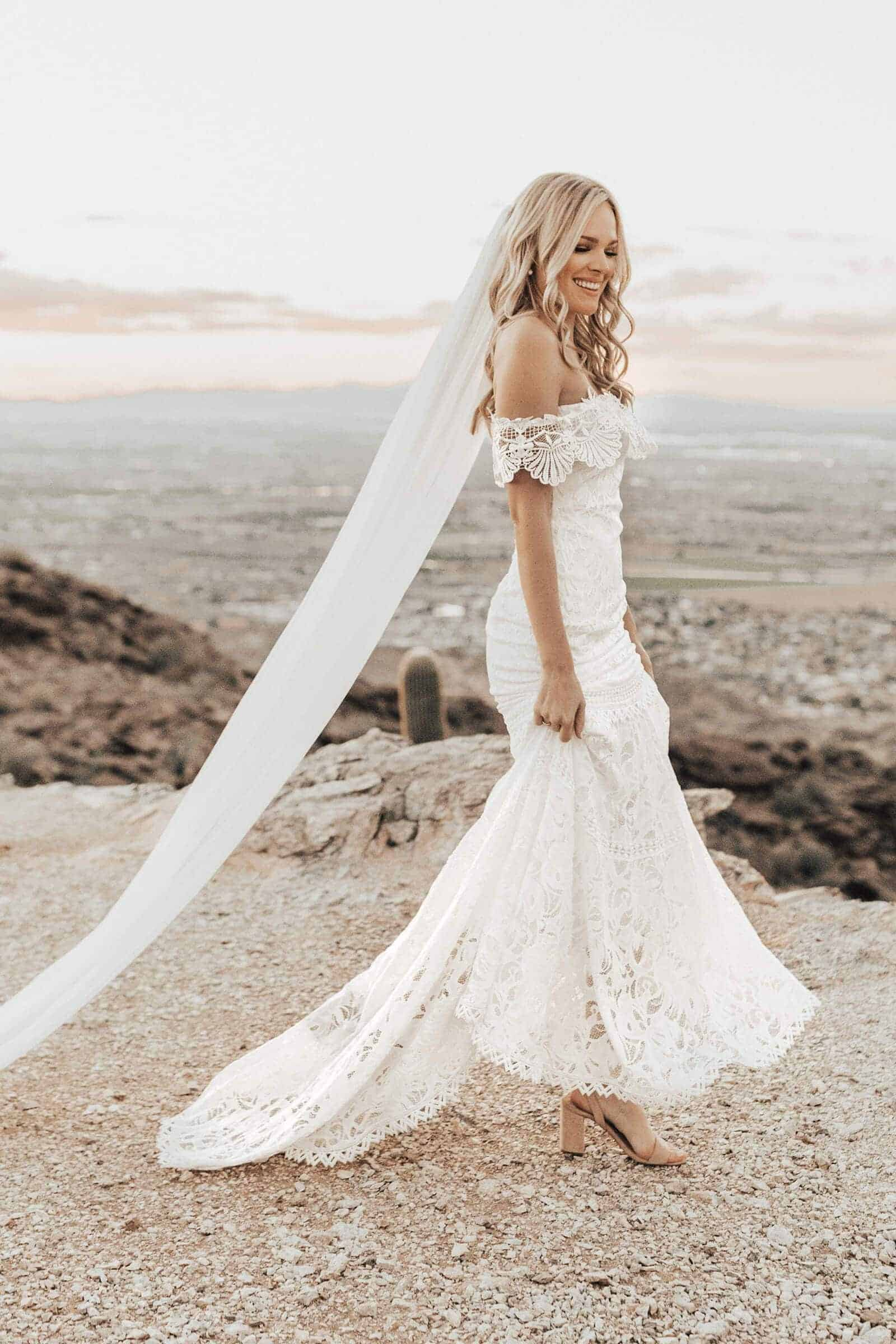Elopement Wedding Dress Casual Simple Lace Embroided Off the Shoulder Dress Intimate Wedding Dress Romantic Grace Loves Lace Cien 3