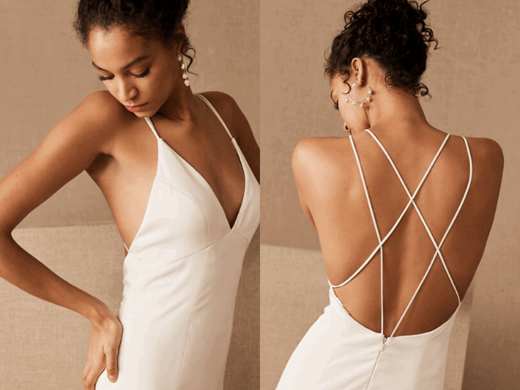 Elopement Wedding Dress Casual Simple White Backless Dress Intimate Wedding Dresses Romantic (1)