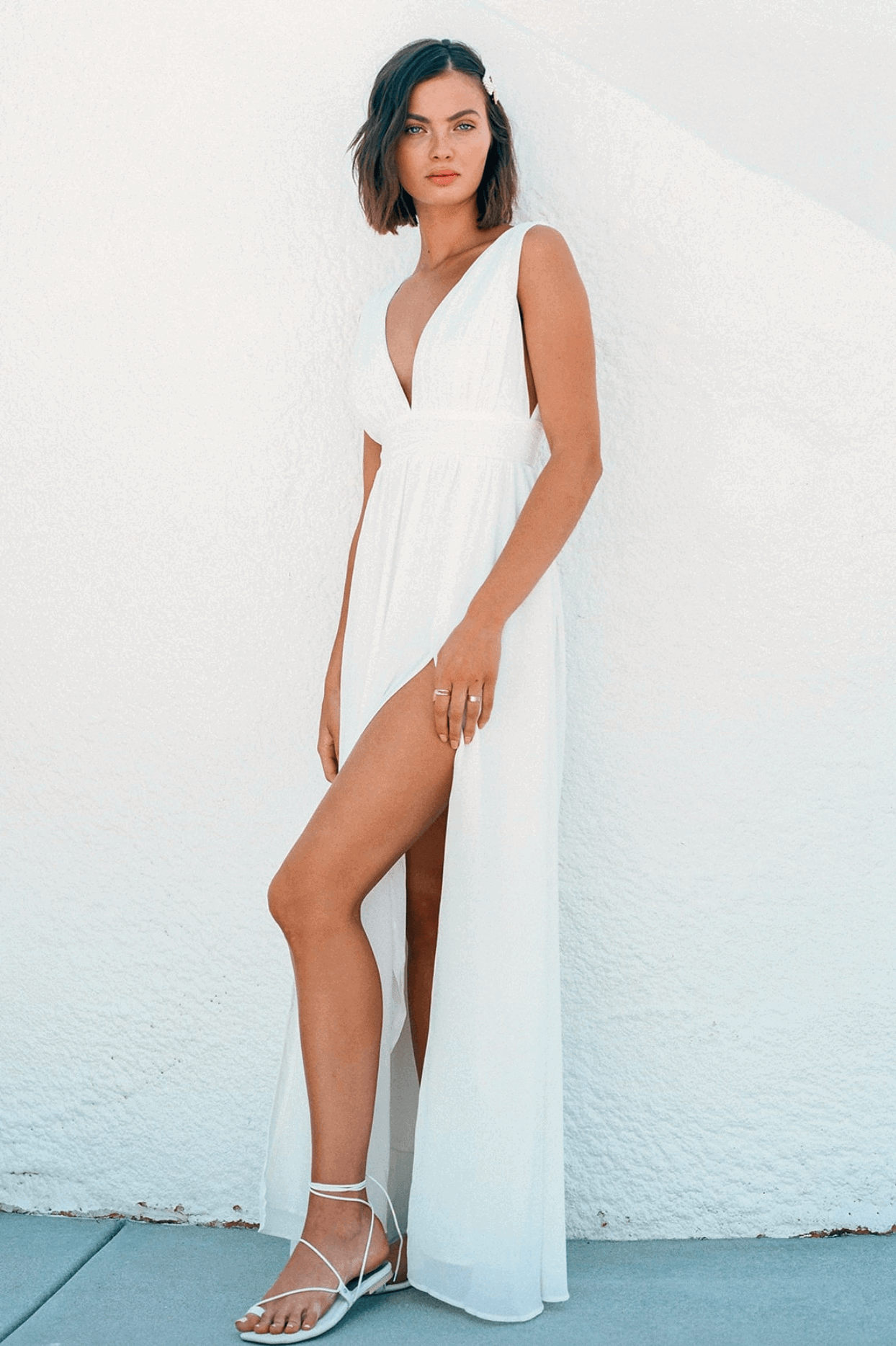 Elopement Wedding Dress Casual Simple White Split Maxi Dress Intimate Wedding Dress Romantic